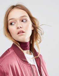 Asos Choker Neck Tie And Headscarf Burgundy Red