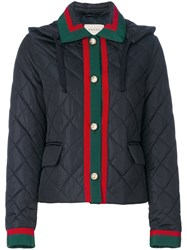Gucci Quilted Contrast Trim Jacket Women Cotton Polyamide Viscose 42 Blue