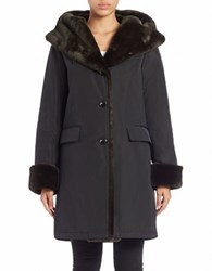 Jane Post Storm Faux Fur Trimmed Coat Light Black