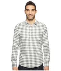 Kenneth Cole Long Sleeve One Pocket Grindle Check Shirt Heather Grey Combo Men's Clothing Black