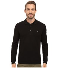 Lacoste Long Sleeve Stretch Grey Croc Pique Polo Black Men's Clothing