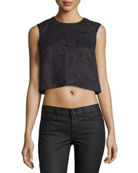 Monique Lhuillier Lace Sleeveless Cropped Shell Noir