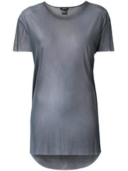 Avant Toi Round Neck Over Tulle T Shirt Grey