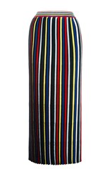 Rosetta Getty Pleated Stripe Knit Skirt