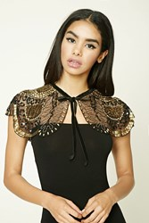 Forever 21 Sequined Ruana Scarf Black Gold