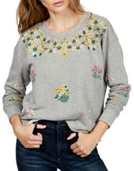 Lucky Brand Embroidered Floral Sweatshirt Heather Grey