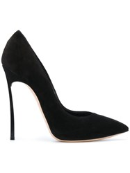 Casadei Thin Stiletto Heeled Pumps Leather Suede 38.5 Black