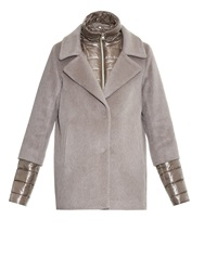 Herno Double Layer Wool Angora And Silk Blend Coat