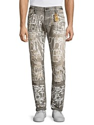 Robin's Jean Tailored Fit Distressed Jeans Grey White