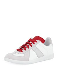 Maison Martin Margiela Replica Leather And Suede Low Top Sneakers With Contrast Trim White