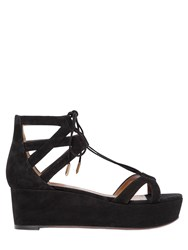 Aquazzura 55Mm Beverly Hills Lace Up Suede Wedges
