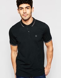Selected Homme Polo Shirt With Tipped Collar Black