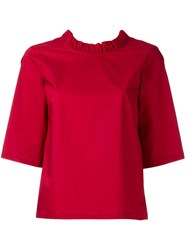Lareida 'Rocco' Frilled Short Sleeve Blouse Women Cotton 40 Red