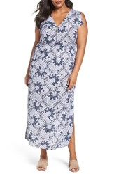Foxcroft Plus Size Women's Taryn Maxi Dress Navy Floral