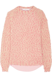 Julien David Bobble Knit And Cotton Oxford Sweater