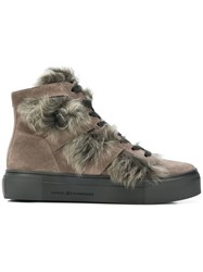 Kennel Schmenger And Shearling Hi Top Sneakers Grey