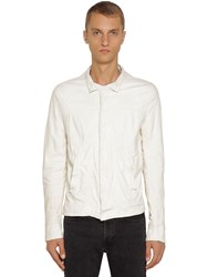 Giorgio Brato Leather Shirt Jacket Ivory