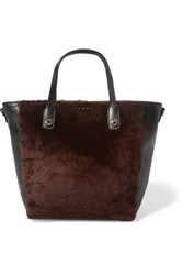 Sandro Alana Shearling And Leather Tote Dark Brown