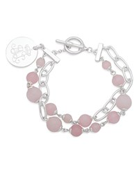 Ralph Lauren Link And Stone Double Strand Pendant Bracelet Pink Silver