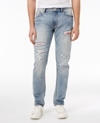 Guess Men's Slim Fit Tapered Ripped Jeans Steady Blue Wash