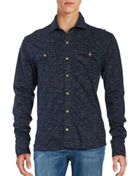 Bells And Whistles Space Dye Knit Button Down Shirt Black