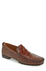 Mezlan 'Rollini' Ostrich Leather Loafer Men Tobacco