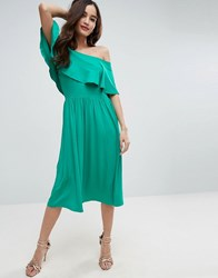Asos Ruffle Bardot Midi Skater Dress Bright Green