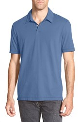 James Perse Men's Trim Fit Sueded Jersey Polo Denim