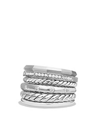 David Yurman Stax Wide Ring With Diamonds White Silver