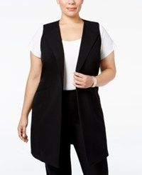 Nine West Plus Size Open Front Long Vest Black