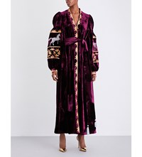 Yuliya Magdych Racing Kaleidocrope Silk Velvet Dress Bordeaux With Silver
