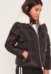 Missguided Black Padded Faux Shearling Collar Bomber Jacket