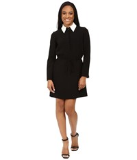 Tahari By Arthur S. Levine Petite Double Woven Shirtdress With Contrast Collar Black Ivory Women's Dress