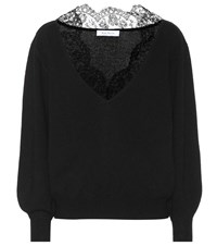 Ryan Roche Cashmere And Lace Sweater Black