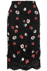 Lela Rose Woman Embroidered Corded Lace Pencil Skirt Black