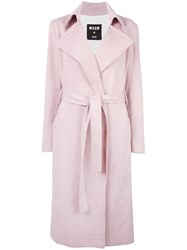 Msgm Belted Wrap Coat Pink Purple