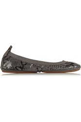 Yosi Samra Classic Fold Up Metallic Snake Effect Leather Ballet Flats