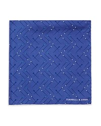 Turnbull And Asser Sewing Pin Pocket Square Blue