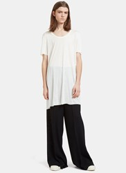 Rick Owens Mastodon Long Scoop Neck T Shirt White