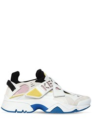Kenzo 30Mm New Sonic Leather And Suede Sneakers White Pink