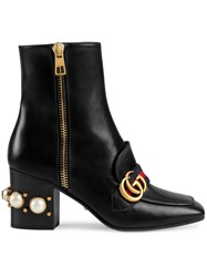 Gucci Mid Heel Ankle Boots Leather Metal Glass Black