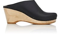 No. 6 Women's Leather Platform Wedge Clogs Black