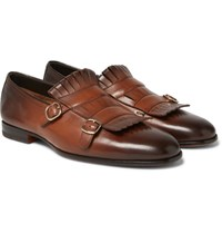 Santoni Burnished Leather Monk Strap Shoes Brown