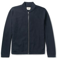 Folk Cotton Blend Pique Bomber Jacket Navy