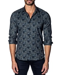 Jared Lang Modern Fit Geometric Paisley Long Sleeve Shirt Blue Multi Geomet