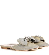 Oscar De La Renta Embellished Slip On Sandals Silver