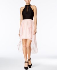 City Studios Juniors' Lace Cutout Back High Low Dress Blush Black