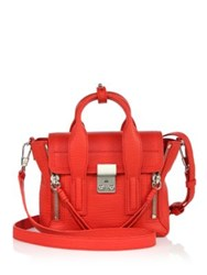 3.1 Phillip Lim Pashli Mini Shark Embossed Leather Satchel Red Nickel Ink Nickel Feather Black Nickel