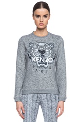 Kenzo Embroidered Tiger Sweatshirt In Gray