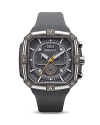 Brera Orologi Supersportivo Square Gray Ionic Plated Stainless Steel Watch With Gray Rubber Strap 46Mm